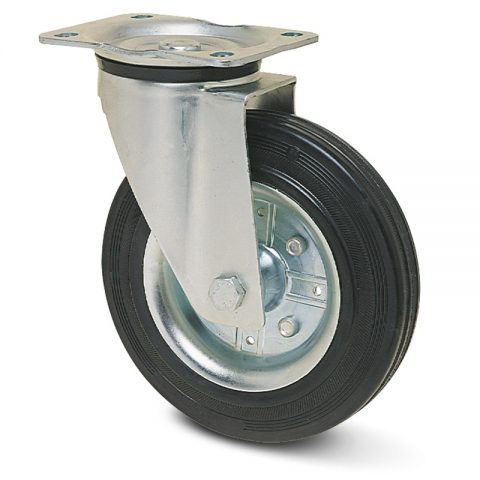 Zinc plated industrial swivel castor for trolleys.Black rubber with steel rim and roller bearing.Top plate fitting