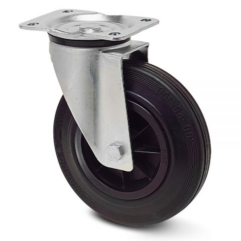 Zinc plated industrial swivel castor for trolleys.Black rubber with polyamide rim and roller bearing.Top plate fitting