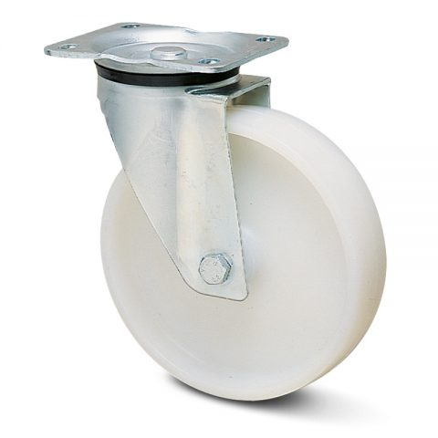 Zinc plated industrial swivel castor for trolleys.Polyamide with  and Plain bearing.Top plate fitting