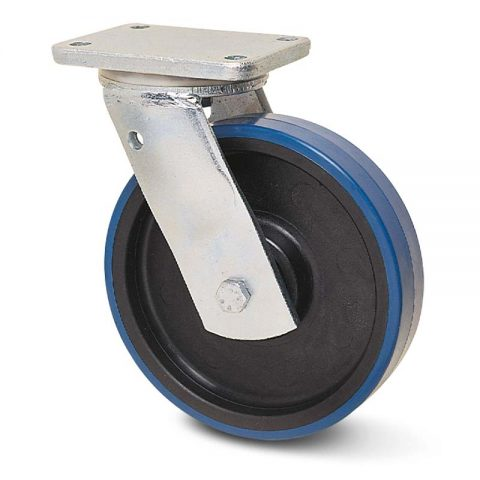 Zinc plated industrial swivel castor for trolleys.Polyurethane with Polyamide and roller bearing.Top plate fitting