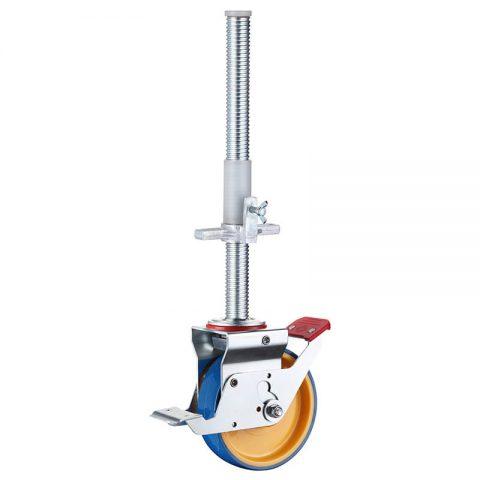 Scaffolding castor 150mm, total lock,round stem fitting, wheel polyurethane with nylon rim,plain bearing