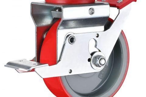 Scaffolding castor 150mm, total lock,top plate fitting, wheel polyurethane with nylon rim,plain bearing