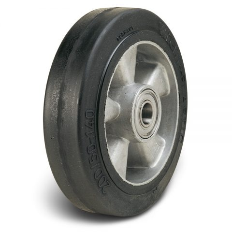 Loose wheels for trolleys.Elastic black rubber with Aluminium rim and Double ball bearings