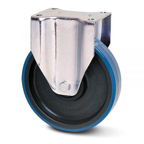 Ανοξείδωτη σταθερή ρόδα για καρότσι 150mm από πλαστική πολυουρεθάνη χωρίς ρουλεμάν.Προσαρμογή με πλάκα.