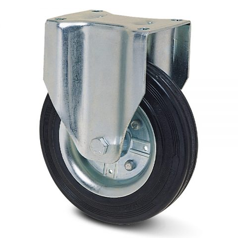 Zinc plated industrial fixed castor for trolleys.Black rubber with steel rim and roller bearing.Top plate fitting