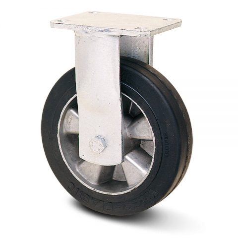 Ρόδα βαρέως τύπου σταθερή 230mm με μαύρο λάστιχο,ζάντα από αλουμίνιο και σφαιρικά ρουλεμάν.Προσαρμογή με πλάκα.