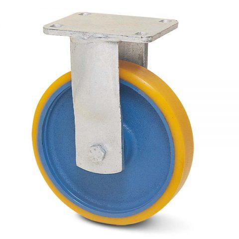 Σταθερή ρόδα βαρέως τύπου 200mm από πολυουρεθάνη με ζάντα χυτοσίδηρη με σφαιρικά ρουλεμάν.Προσαρμογή με πλάκα.