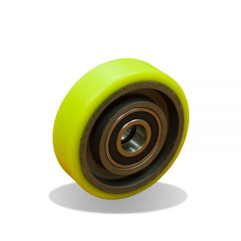 Wheels for elevators 100mm. Polyurethane thread with cast iron rim and Double ball bearings