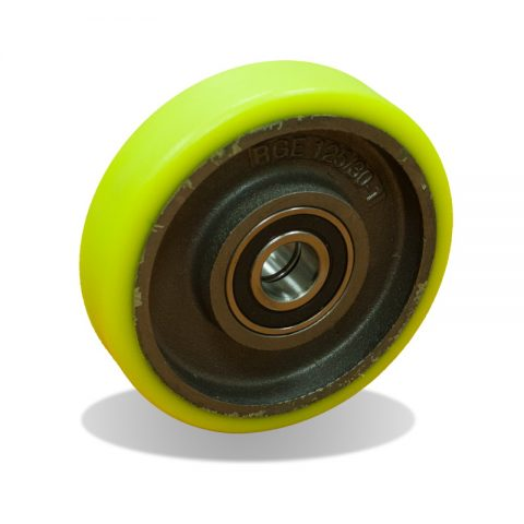 Wheels for elevators 125mm. Polyurethane thread with cast iron rim and Double ball bearings
